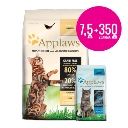 Applaws granule Cat Adult Kuře 7,5kg + Applaws mořské ryby 350g ZDARMA