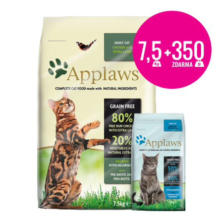 Applaws granule Cat Adult Kuře s jehněčím 7,5kg + Applaws mořské ryby 350g ZDARMA