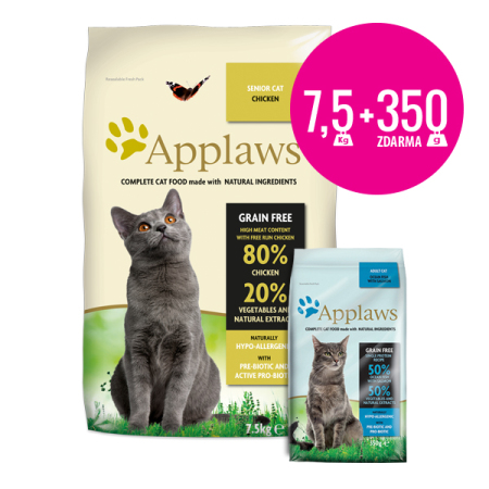 Applaws granule Cat Senior Kuře 7,5kg + Applaws mořské ryby 350g ZDARMA