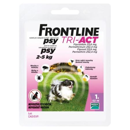 Frontline TRI-ACT spot-on dog    XS a.u.v. 0,5ml (2-5kg)